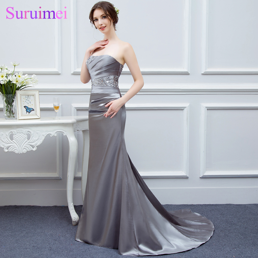 Fast Send 2 days Fast Delivery Sweetheart High Quality Mermaid Silver/Gray Bridesmaid Dresses Cheap Bridesmaid Dresses 2017