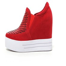 nubuck leather fashion Beautiful  round toe Slip-On platform woman casual shoes black red