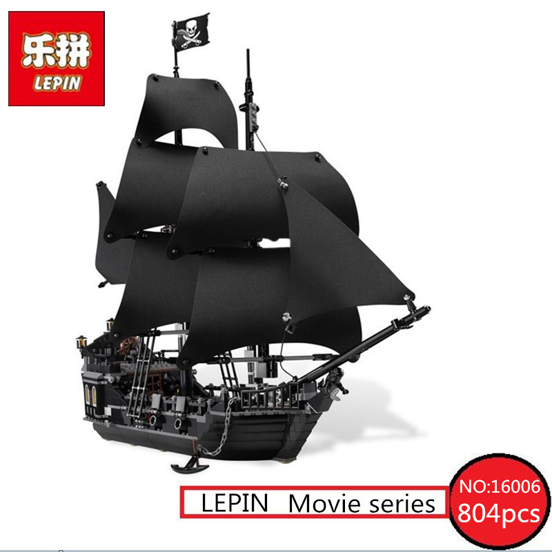 LEPIN 16006 804pcs Pirates of the Caribbean Black Pearl Building Blocks Bricks Set The Figures Compatible with Lifee Toys Gift 1513pcs pirates of the caribbean black pearl general dark ship 1313 model building blocks children boy toys compatible with lego