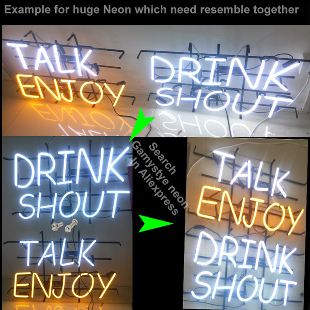 Neon Sign Glass Pipes Neon Bulbs Sign Beer Pub Real Glass Neon Tube Sign handcraft Publicidad Arcade Sign Store Wall Displays 5