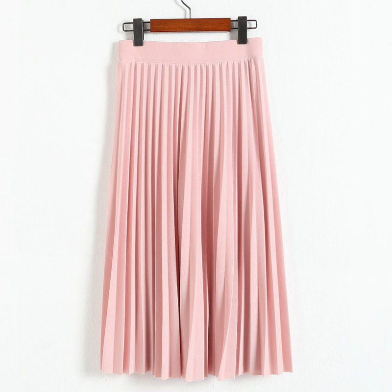 2016 spring all-match chiffon skirt waist fold slim skirt pleated skirt Department summer slim skirt 20