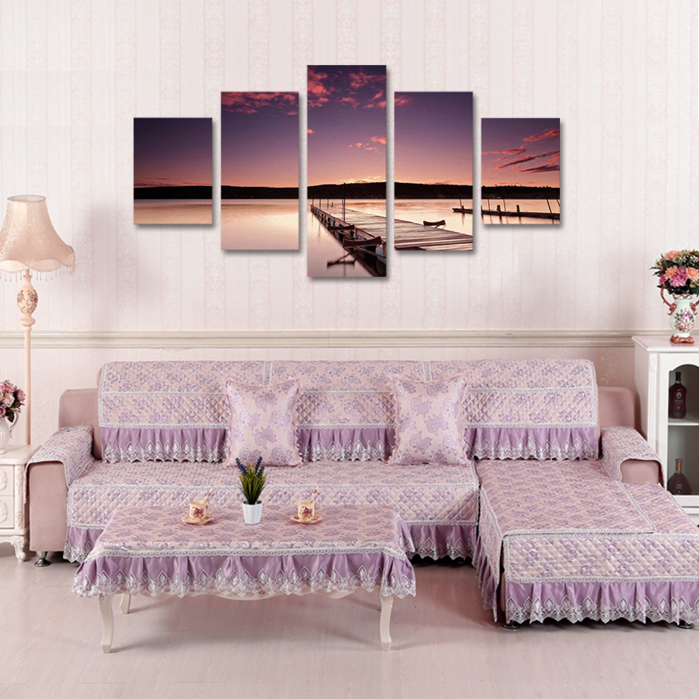 Unframed 5 panel HD Canvas Wall Art Giclee Painting Boardwalk Landscape For Living Room Home Decor Free Shipping