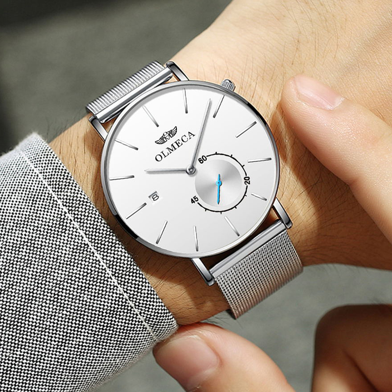 Sports Date Mens Watches Top Brand Luxury Waterproof Sport Watch Men White Ultra Thin Dial Quartz Watch Casual Relogio Masculino