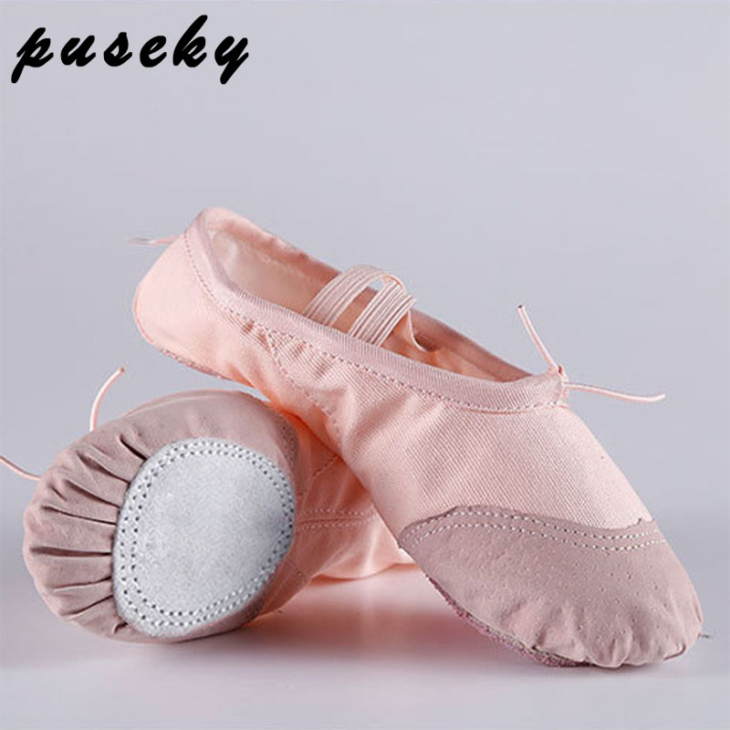 Puseky Child Girl Soft split Sole Dance Ballet Shoe Cotton Comfortable Fitness Breathable Toddler Canvas Practice Gym Slipper цена