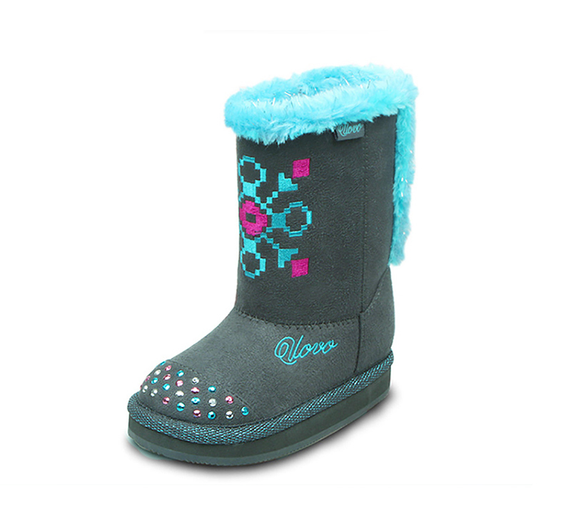 UOVO Kids boots Grey Girls Boot Suede Fabric Boots for Little Girls Velvet Lining Children Boots Autumn Winter Girls Shoes uovo christmas winter warm children medium knitted wool snow boots for kids girls cow suede cotton boots shoes for 4 10t ccs027