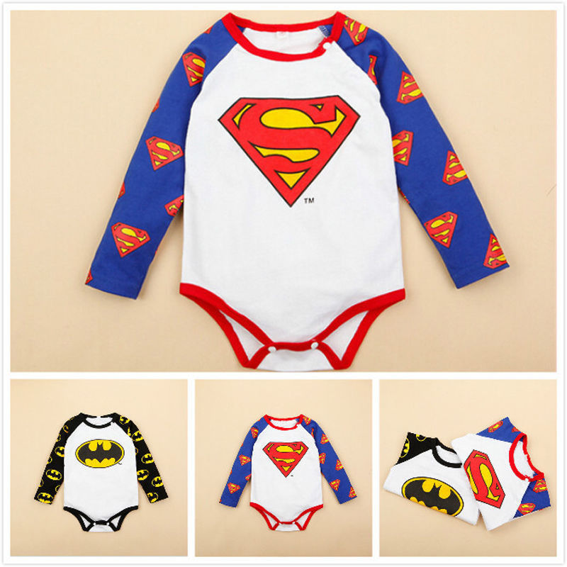 2016 Baby Costumes Ropa Bebe Cotton Long Sleeve Superman Baby Rompers Batman Newborn Baby Boy Clothes Birthday Baby Clothes