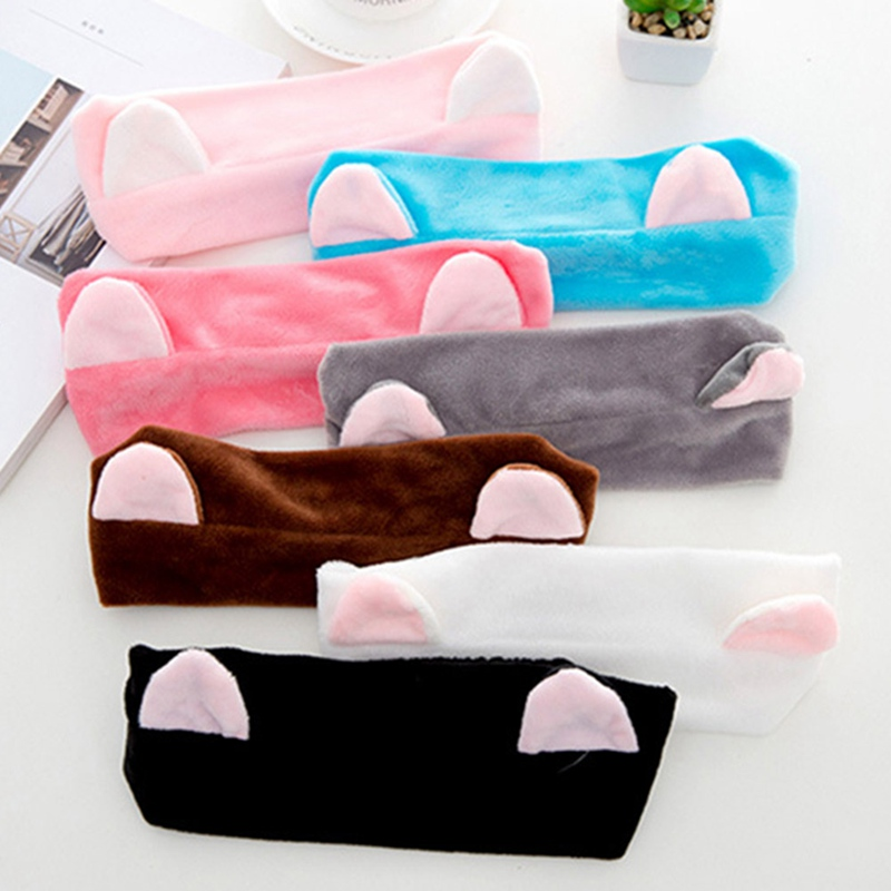 Cute Elastic Cat Ears Headbands For Women Girls Makeup Face Washing Headband Hairdo Facial Mask Headwrap Hairband Hair Accessory