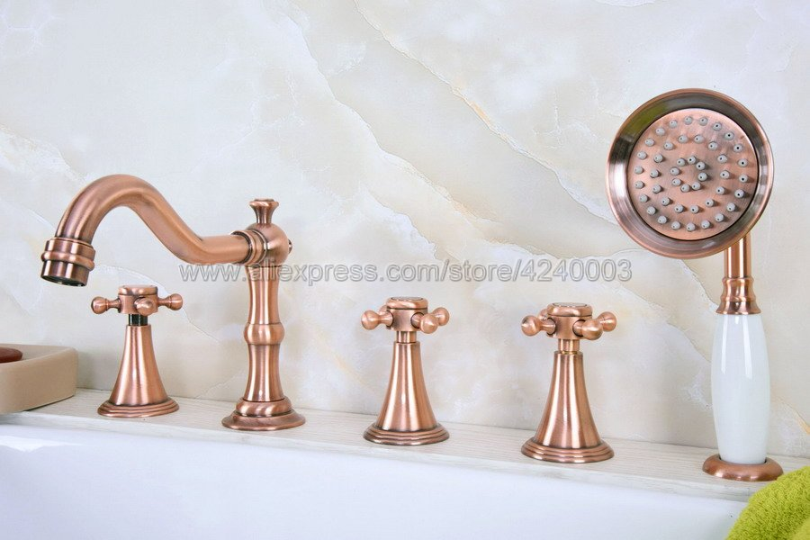 Antique Red Copper Roman Bathtub Mixer Faucet Set with Handheld Shower Deck Mounted 5 Holes Hot and Cold Taps Ktf217Antique Red Copper Roman Bathtub Mixer Faucet Set with Handheld Shower Deck Mounted 5 Holes Hot and Cold Taps Ktf217