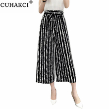 Casual Pants Trousers Striped Summer Women Loose Ankle-Length Elegant Girls Female Wide