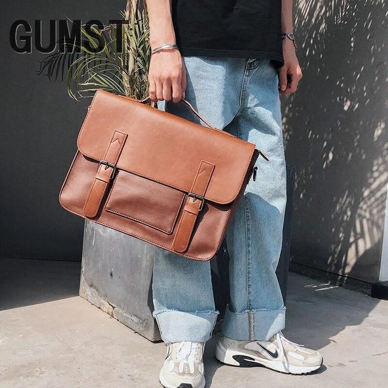 GUMST Crazy Horse PU Leather Men Tote Handbag Fashion Crossbody Shoulder Bags Messenger Bag New Briefcase For Male Handbags