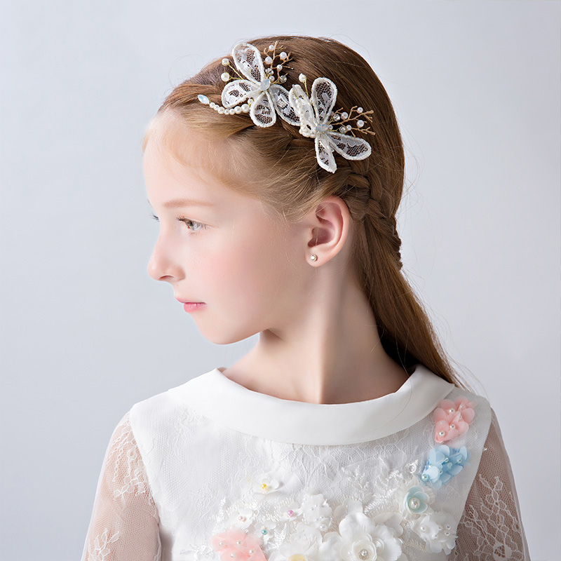 012691205d91c White Beaded Butterfly Hair Clips Princess Flower Girls Headpiece Barrettes  Ornaments Fashion Headdress Birthday Christmas Gifts