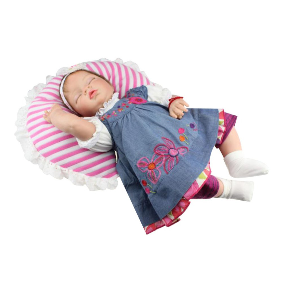OCDAY 55cm Simulation Baby Reborn Doll High Grade Soft Silicone Lovely Babies Sleeping Doll Newborn Girls Children Playmate Toys lovely simulation reborn baby doll kids sleeping playmate accompany silicone toys lifelike children high quality toys gift