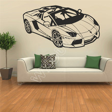 WXDUUZ coche deportiva Adesivo vinile da parete Decalcomania Grafica parete, arte pegatina de pared decoración del hogar Decoración de la pared B458(China)