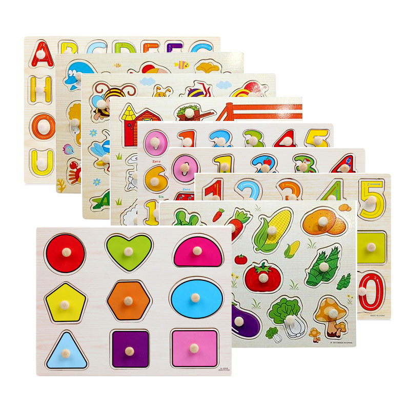 Montessori Toys For Toddler Geometric Shape Puzzle Board with Knobs Wooden Montessori Materials Sensorial Puzzle UD0364H