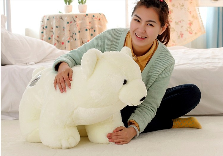 stuffed animal white polar bear plush toy about 75 cm soft doll t6997