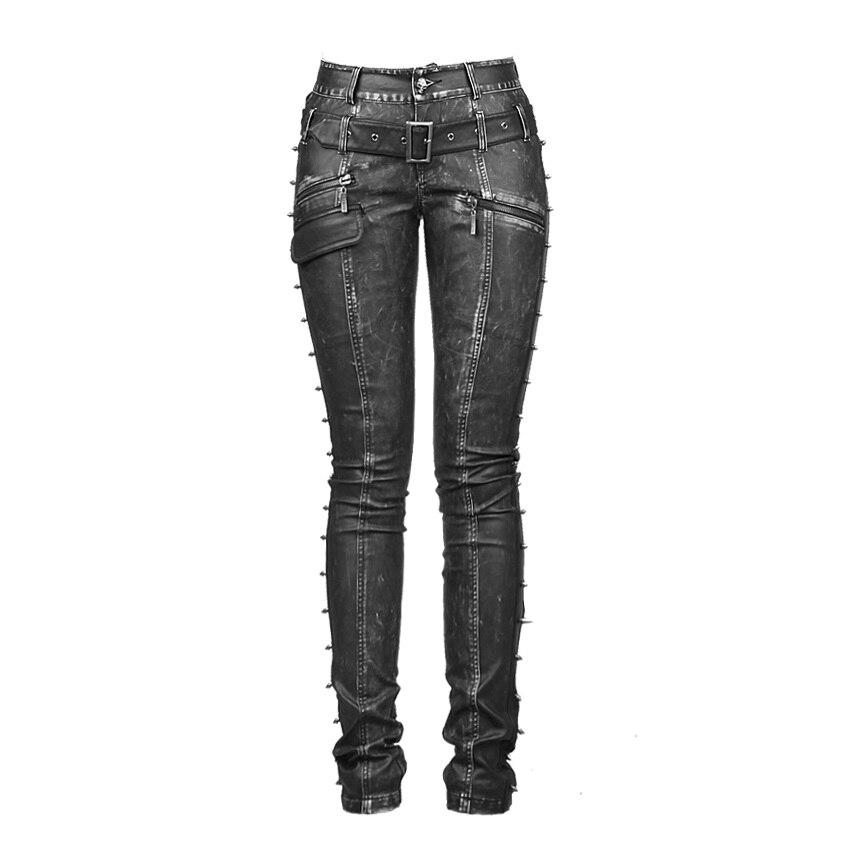 Зимние готические байкерские брюки с заклепками женские узкие длинные брюки женские панк Брюки женские тонкие с высокой талией Прямые улич