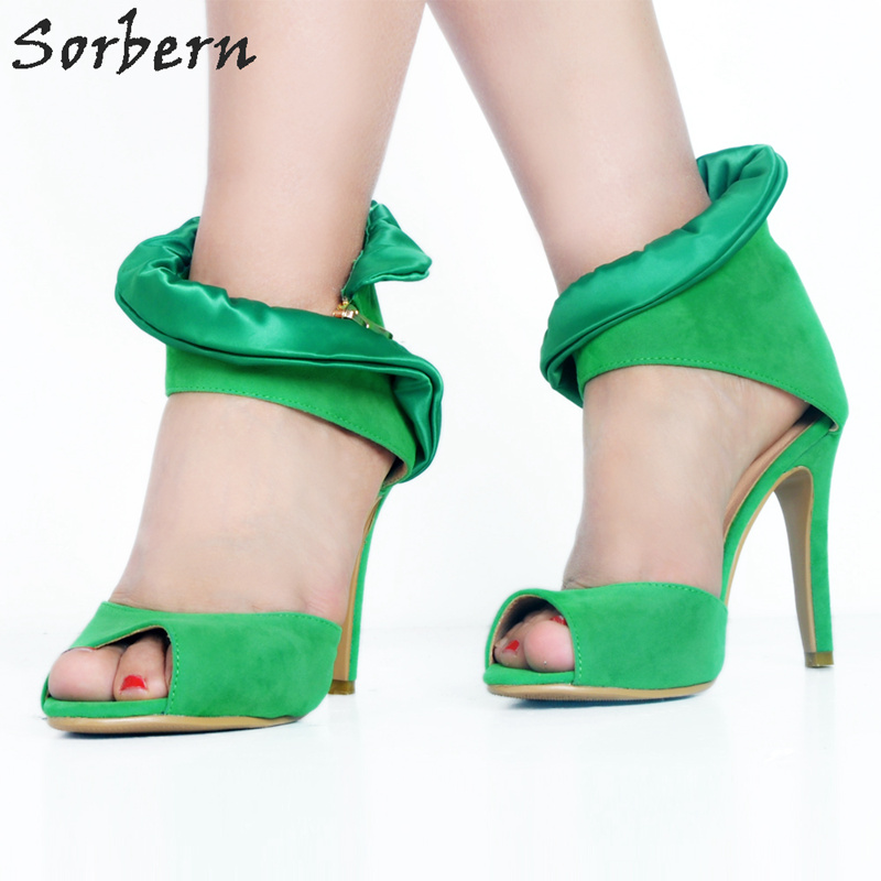 Sorbern Green Peep Toe Ladies High Heel Sandals Summer Shoes For Women High Heels Flower Satin Wrapped Ankles Brand Women Shoes luxury brand shoes women peep toe