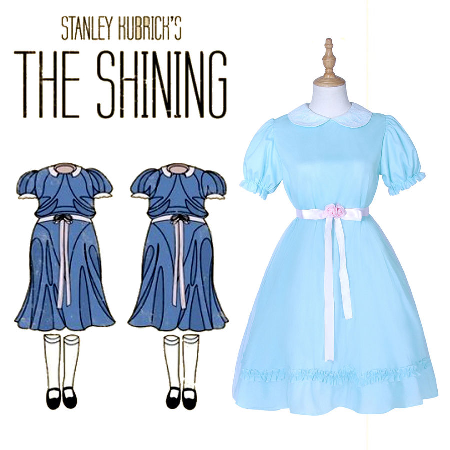 Biamoxer The Shining Grady Twin Daughter Cosplay Costume Women Girl Blue Dress Halloween
