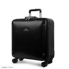 "Carryloveผู้ชายวัวหนังกระเป๋าเดินทาง20 ""สีดำแล็ปท็อปรถเข็นกระเป๋าสำหรับเดินทาง"