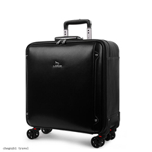 """Carrylove men cow leather hand luggage 20"""" black business laptop cabin trolley bag for traveling"""