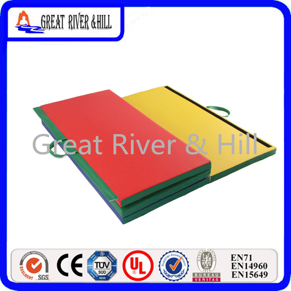 Great River Hill 4 Folding Gymnastics mat with size 2.4mx1.2mx5cm gymnastics mat thick four folding panel fitness exercise 2 4mx1 2mx3cm