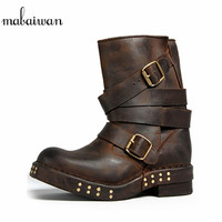 Punk Style Women Ankle Boots Black Brown Genuine Leather Square Toe Flat Booties Straps Design Botas