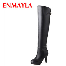 Airfour New Winter Women High Heel Long Boots Fashion Zipper Buckle Platform Sexy Red Black White Knee