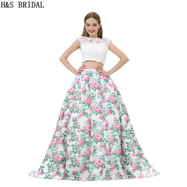 H & S BRAUT Spitze Zwei Stücke Abendkleid A neck Abendkleider Ballkleid  Prom Dresses Backless Partei casamento in H & S BRAUT Spitze Zwei Stücke ...