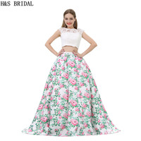 H&S BRIDAL Lace Two Pieces Evening Dress O Neck Evening Dresses Ball Gown Prom Dresses Backless Evening Party casamento