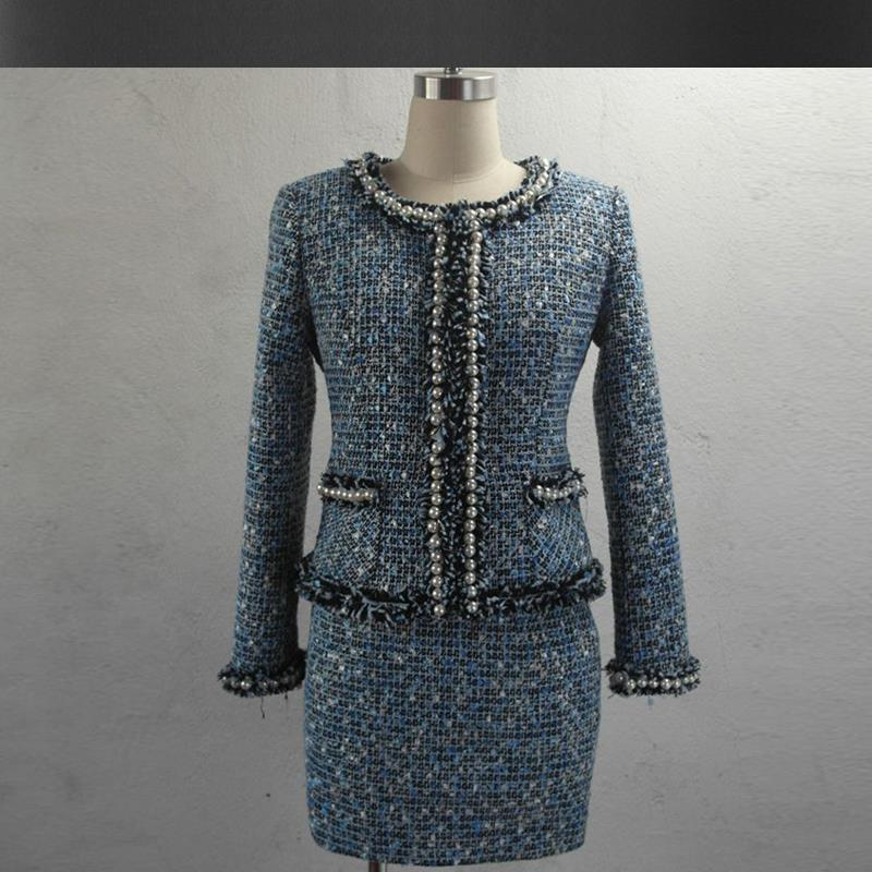 blue tweed jacket skirts suits beaded 2019 spring autumn winter new advanced customization Heavy jacket coat