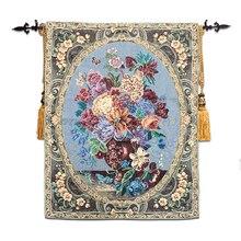 Бельгийский гобелен для гостиной и спальни декоративная картина для ресторана европейские классические Фрески Цветок 113x137 см