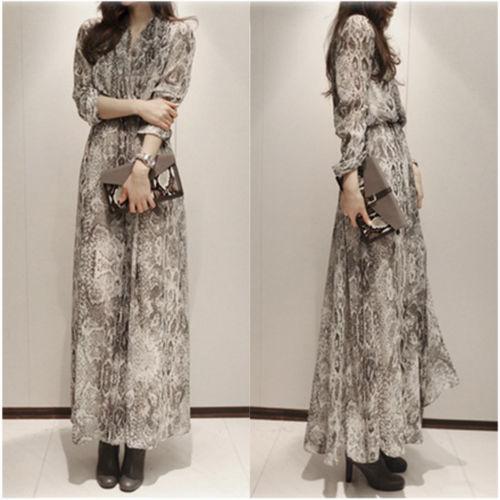 7ccefd10677 Snake Pattern Long Sleeve Full Length Chiffon Evening Party Maxi Dress