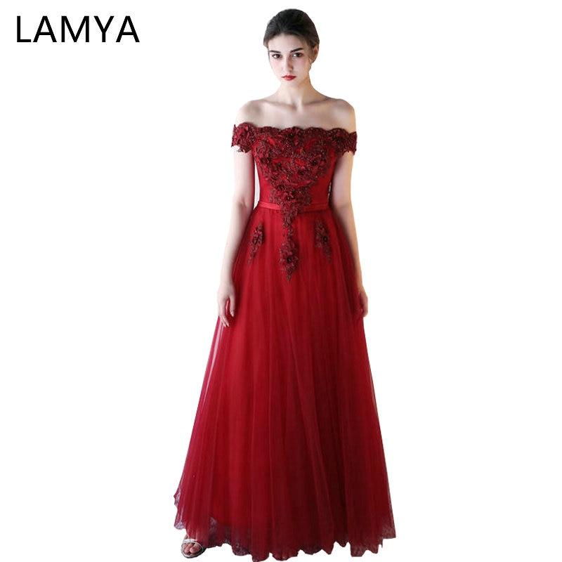 LAMYA Long   Prom     Dresses   Boat Neck Appliques Vintage A Line Banquet Evening Party Gown Beading Vestido De Festa