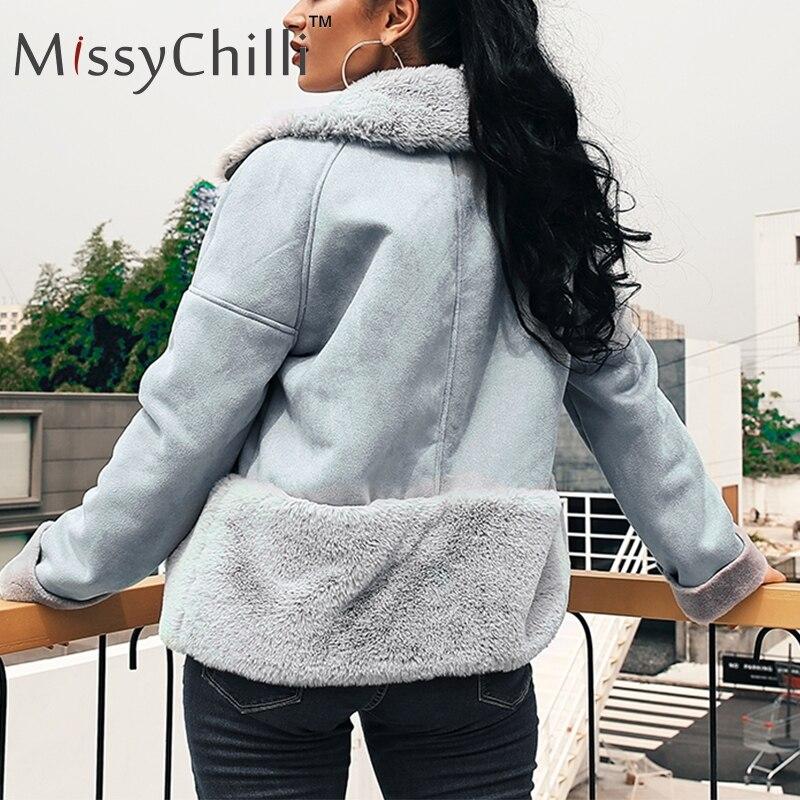 MissyChilli искусственный мех лоскутное кожаное замшевое пальто женское летнее повседневное шикарное весеннее пальто на молнии женское пушисто...
