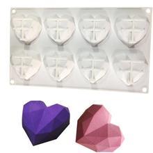 8-полости со стразами в форме сердца силиконовые формы для свечей для тортов мусс шоколад жаропрочная посуда для десерта печенья прессформы