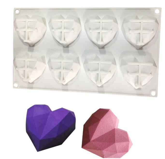 8-Cavity Diamond Love Heart-Shaped Silicone Candle Molds For Cakes Mousse Chocolate Dessert Bakeware Pastry Mould