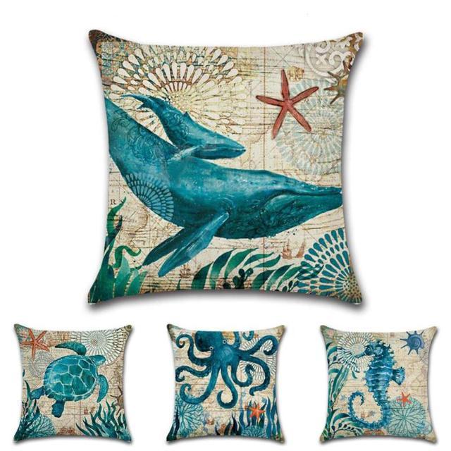 Ideal Whale Sea Turtle Pillows Decorative Cushion Cover 45x45cm Sea  UE68