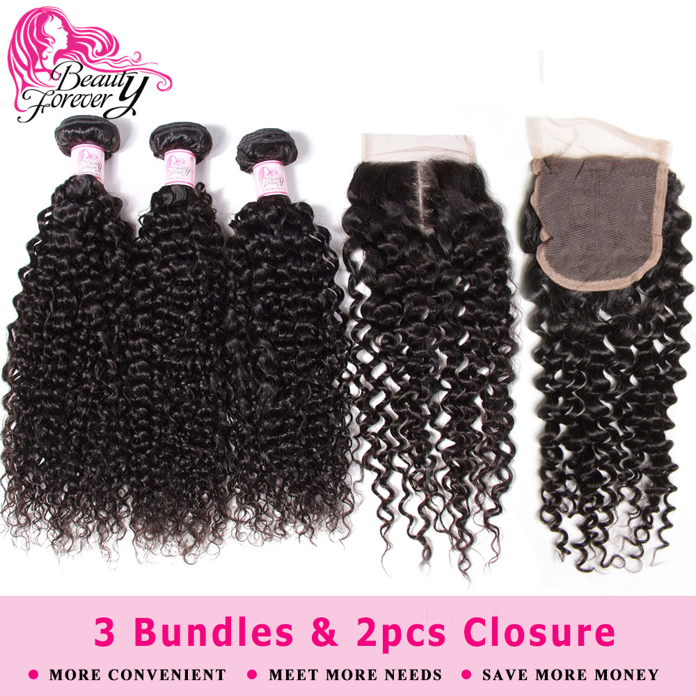 Beauty Forever 3 Bundles With 2pcs Closures 4*4 Brazilian Curly Hair Weaves Human Hair Bundles With Closure Natural Remy Hair