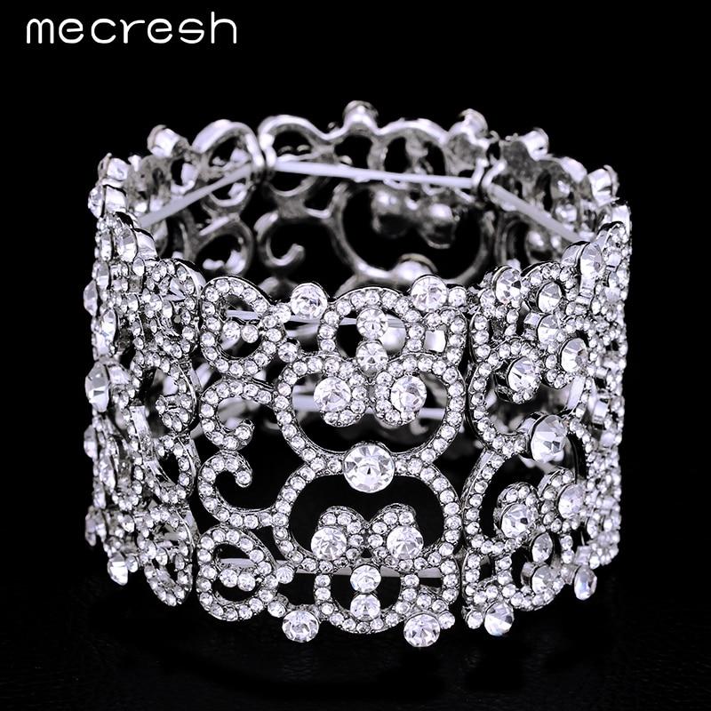 Mecresh Crystal Bracelets & Bangles for Women Silver Color Wide Friendship Bracelets Fashion Girls Jewelry Christmas Gift MSL209 friendship bracelets