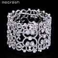 Mecresh Oco Cristal Pulseiras & Pulseiras para As Mulheres Do Amor Do Coração Pulseiras de Prata Banhado Pulseiras Largas Moda Jóias MSL209