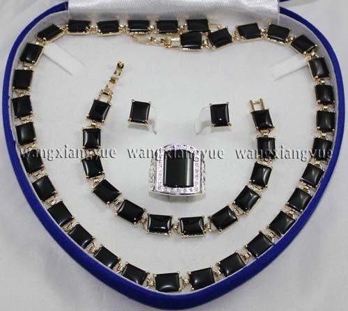 Vente chaude nouveau-Noir Riche Agate Lien Bracelet/Boucles D'oreilles/Anneau/Collier Ensemble de Bijoux (A0425)