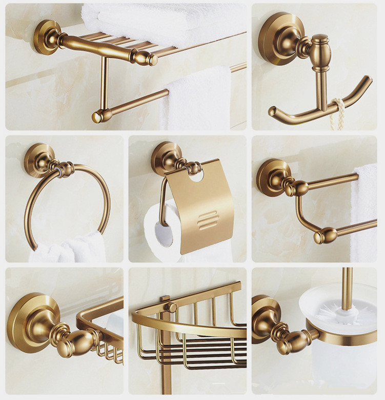Antique gold brass bathroom accessory set polished for Bathroom fittings set