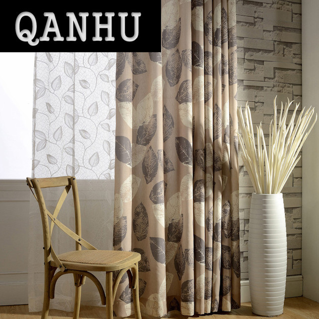 Marvelous QANHU Brown Leaf Pattern Blackout Curtains For Bedroom Polyester/Cotton  Comfortable Curtains Set For The