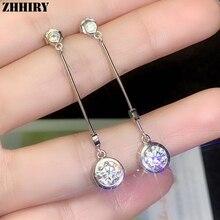 купить ZHHIRY Real Moissanite 925 Sterling Silver Earrings For Women Drop Earring 2ct D VVS1 Gemstone With Certificate Fine Jewelry дешево