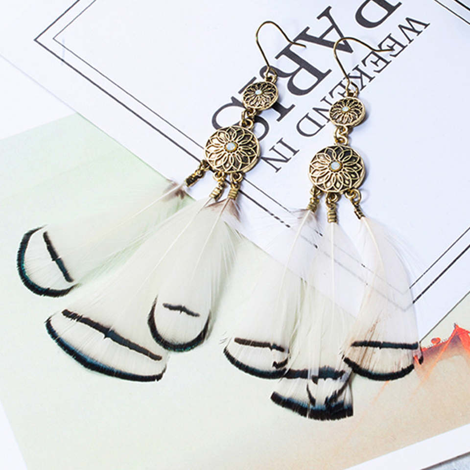 2018 New boho long white brown color feather earrings female jewelry Bohemian double round circle dream catcher flowers earring