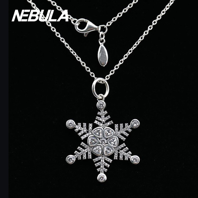 Original 925 Sterling Silver Snowflake Siver pendant with cubic zirconia European Sweater Necklace Jewelry include Chain