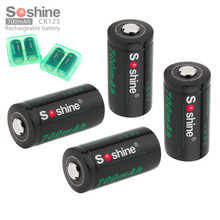 4pcs Soshine RCR123 16340 700mAh Li ion Rechargeable Battery with 2 x Battery Storage Box Case