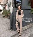 La Primavera de 2016 Pequeña Hembra un Botón Commuter Delgada Pantalones Ocio Albaricoque negro dos colores disponibles femenina elegante Traje