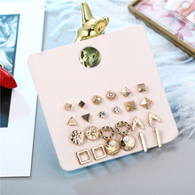 Fashion 12pair/set Women Square Round Triangle Bar Crystal Stud Earrings Sets for Simulated Pearl Mixed Earring Set