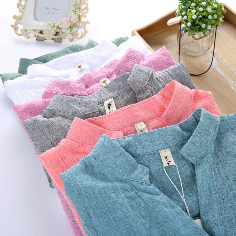 New Fashion Women Sunscreen Shirt Female 2018 Summer Cotton Linen Shirt Girls Loose Nine Quarter Sleeve V-neck Leisure Bouses